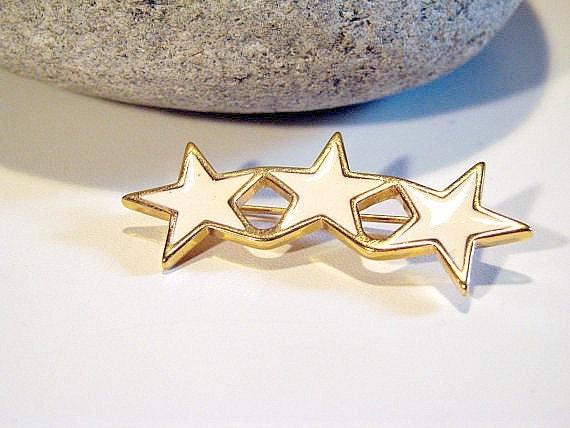 Cream and Golds  Vintage Monet Triple Star Brooch 3 Stars Star Brooch
