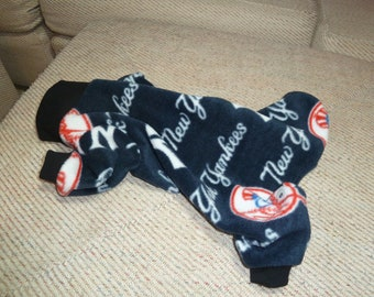Small, Medium Large  - New York Yankees Baseball  Fleece Doggy Pajama, Doggy Onesies, MLB Pajamas