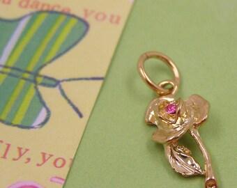 Gold Rose Flower Garden Tree Green  with Swarovski Crystal Charm