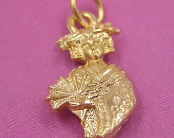 Gold Japanese Geisha Charm Japan Charm Orient Charm Asia Charm Japanese Kabuki Girl Charm