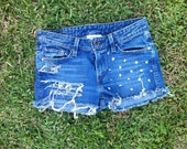 FREE SHIPPING Made to Order US Sz 1-10 - Mid Waist Studded and Distressed Denim Shorts