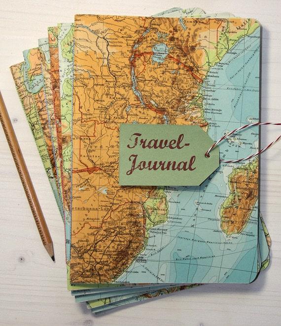 1 NOTEBOOK, Africa, travel journal, diary, notebook, atlas, map, vintage