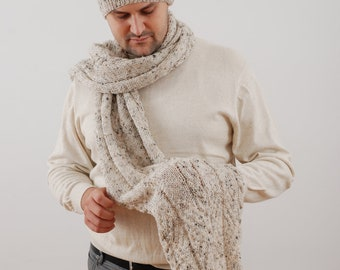Hand Knit Hat & Scarf Set. Men's Scarf. Mens Beanie. Oatmeal Extra Long Scarf. Wool Mens Scarves. Gift For Him, Men Accessories.