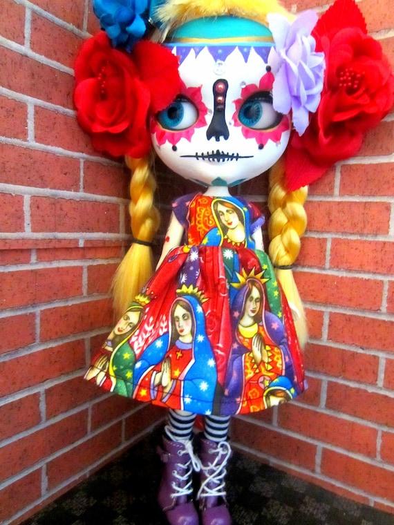 Custom Blonde Calavera Sugar Skull Blythe Doll