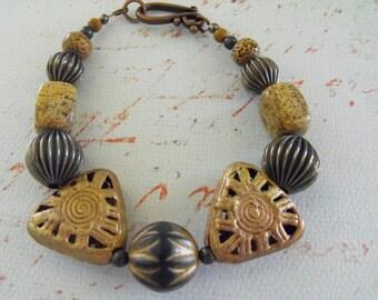 Handmade Beaded Bracelet,  BRASS AFRICAN TRADE Beaded bracelet,  Tribal Ashanti  see matching earrings