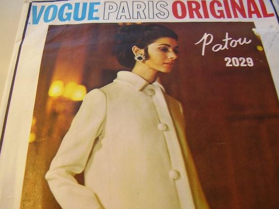 SALE  Vintage 1960s, 70s Vogue Paris Original 2029 Patou Dress and Coat Sewing Pattern, Size 10, Bust 32 1/2