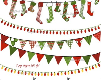 Christmas Buntings, Stockings & Lights clip art set-red green patterned holiday printable digital clipart - instant download