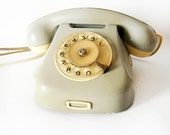 Shabby Chic Pale Green Vintage European Rotary Telephone - Retro Rotary Phone - East Europe Made in Romania