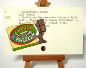 RESERVED Charlie and the Chocolate Factory - Print of chocolate bar painted on library card catalog card