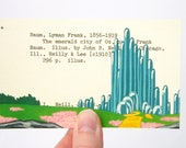 Emerald City of Oz - Print of Emerald City painted on library card catalog card for the book The Emerald City of Oz
