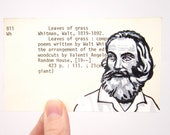 Walt Whitman on Library Card - Print of painting of Walt Whitman on library card catalog card for The Leaves of Grass