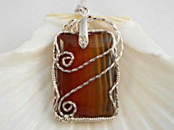 Banded Carnelian Pendant, Carnelian Jewelry, Wire Wrapped, Handmade