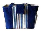 Navy & Cream Striped Midsize Diaper Bag -- Made to Order