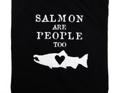 Mens T-Shirt Salmon Black Unisex Womens Eco Friendly Sweatshop Free MEDIUM M