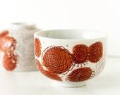 Vintage Teacup Kutani Porcelain Chrysanthemum Set of Two