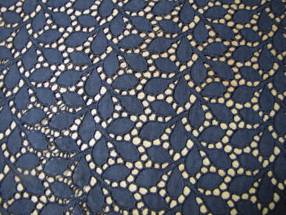 Black eyelet fabric cotton lace big piece of