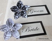 Origami Flowers - Decorate your Weddings, Placecards, One Year 1st Anniversary, Showers - Black White