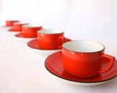 Red kitchen antique French espresso cups, French bistro kitchen, red decor, French cafe, Sarreguemines et Digoin, set of 5