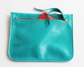 ST TROPEZ  Turquoise pouch, leather purse, small leather clutch
