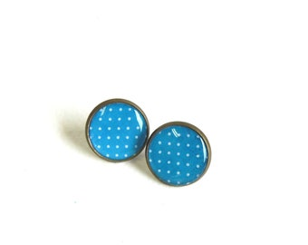 Blue earring studs Polka dots stud earrings antique brass earring posts
