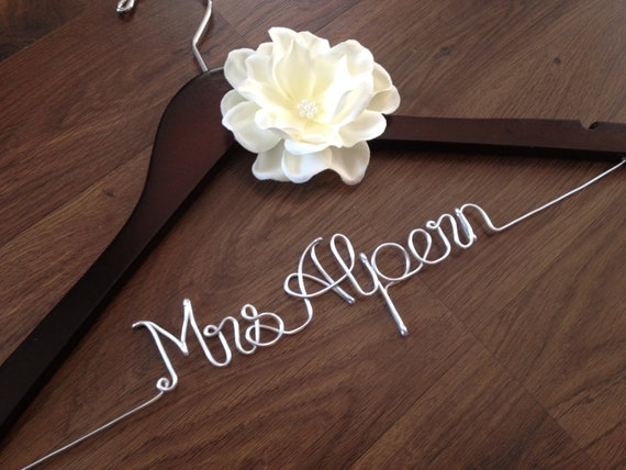 SALE Personalized Wedding Hanger with Ivory Flower -Bride Hanger, Name Hanger, Wedding Hanger,Mrs Bridal Dress Hanger,Shower Gift