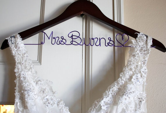Items similar to bridal hanger wedding dress hanger for Wedding dress hangers with name