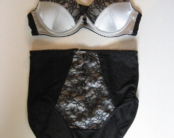 LAST ONE  Retro Pin Up Vintage Style Silver Satin Eyelash Lace Demi Bra & High Waist Panty