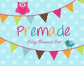 LARGE Etsy Banner Set - Premade Etsy Banner - Etsy Shop Banner - Bunting Flags with Owl And Bird 145- Icon Included!