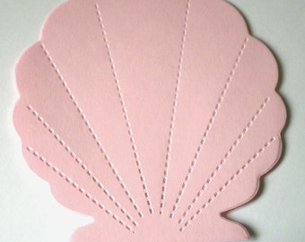 10 Large Pink Die Cut Sea Shells
