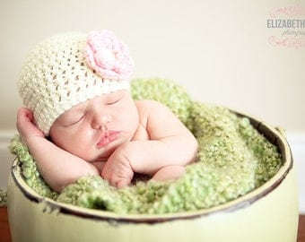 Baby Girl Crochet Flower hat- Cream/Ivory with Pink Flower