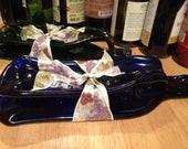 Slumped wine bottle gift set