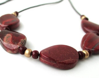 Brecciated Jasper Sliding Stone Adjustable Necklace