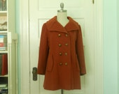 60s Military Inspired Double Breasted Wool Pea Coat  with Side pockets in an autumn Burnt Orange Size Medium