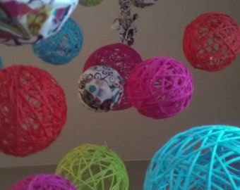Multi Color Yarn & Fabric Ball Baby Mobile