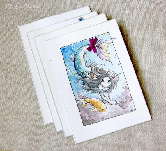 Mermaids watercolor art card set (4)