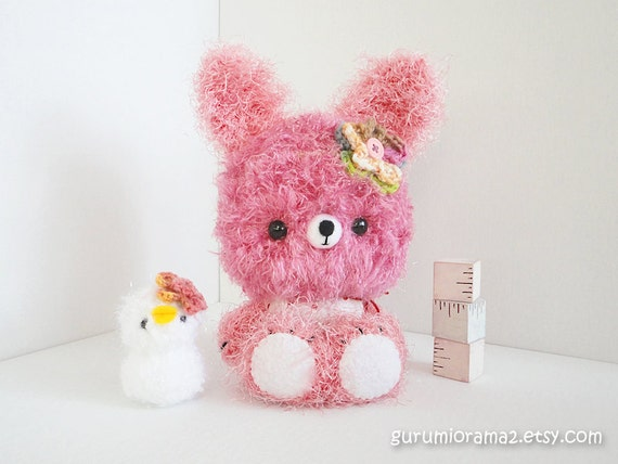 Bunny plush Kawaii amigurumi Collectibles pink fuzzy and white chick - Ready to Ship