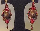 Gorgeous Red and Bronze woven earrings
