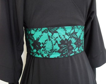 Green Belt, Obi Belt with Corset Style Fastening, Wide Belt with Black Lace