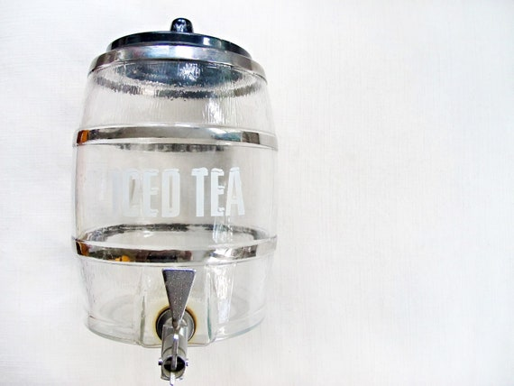 sip & repeat - vintage glass iced tea dispenser. unique jar, drink, retro container, barrel, wedding, picnic