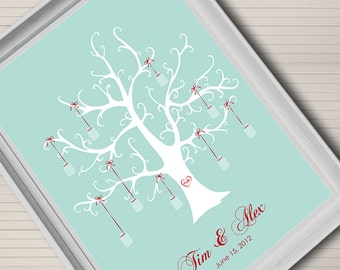 Fingerprint thumb print wedding tree. Guest book alternative. Mason jar theme. Printable DIY. Customizable.