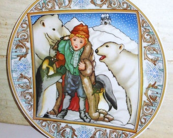 Vintage Villeroy & Boch Porcelain Collectors Plate -  Child Dreams - Winter Scene - Polar Bears - Penguins - Nursery -  Collectibles