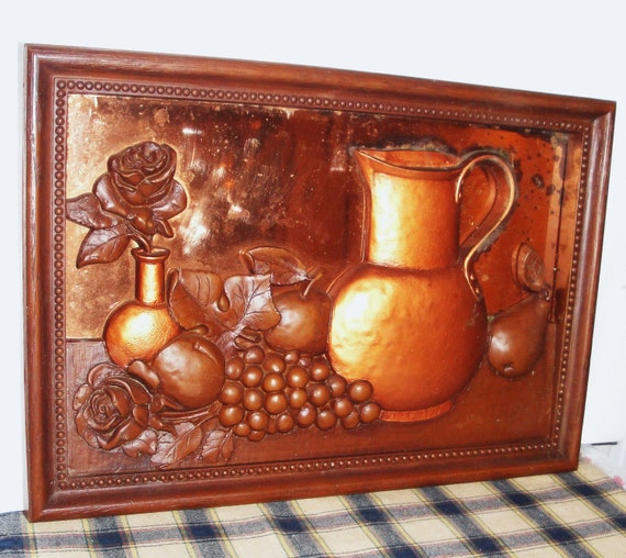 Retro Copper 3d Framed Art Kitchen Decor Vintage Home