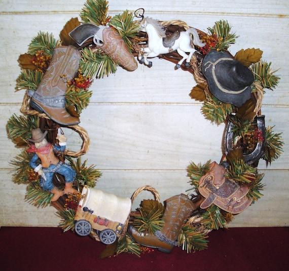 Cowboy Christmas Decor: Cowboy Christmas Western Wreath Home Decor Decorations