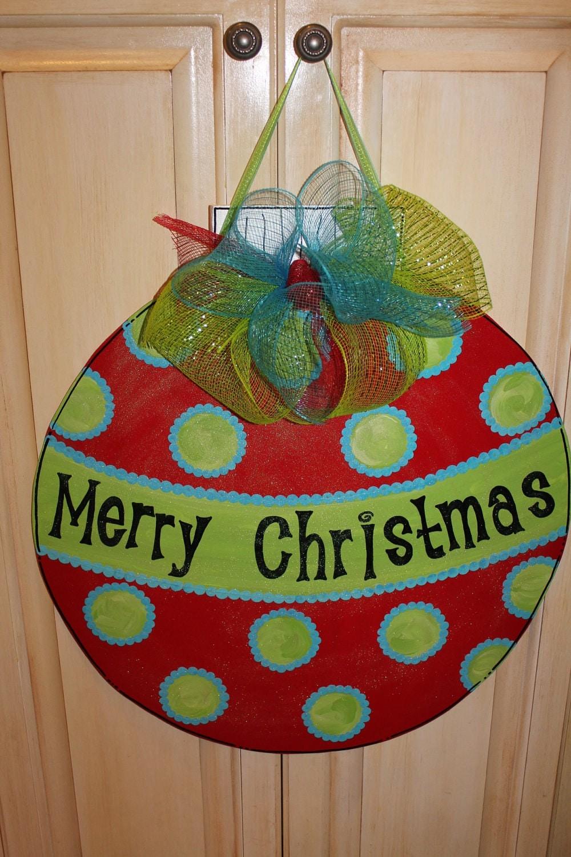 Wood christmas ornament door hanger