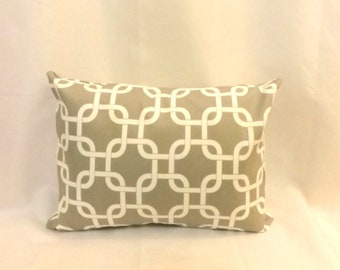 Decorative Lumbar Pillow Cover - 12 x 18 - Gray Gotcha Print - Zipper Closure - BOTH SIDES - Accent Pillow