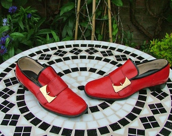 My Little Red Book-Bright Red Vintage 60s Deadstock Gold Buckle Pilgrim Loafer-Free UK Shipping