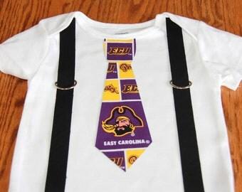 East Carolina University Pirates boys Suspenders and Tie onesie or shirt - add sports leg warmers