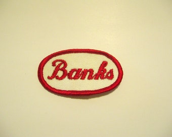 "Vintage Embroidered Name Patch - ""Banks"""