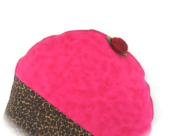 Heating Pad, Natural Herbal , Hot Pink Leopard CrampCake, cupcake, flannel, felt