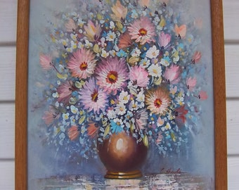 Original Oil Painting - Bouquet in Gold Vase Painting by C Hunter - Beautiful Springtime Pastels on Canvas - Framed - Vintage Art Decor
